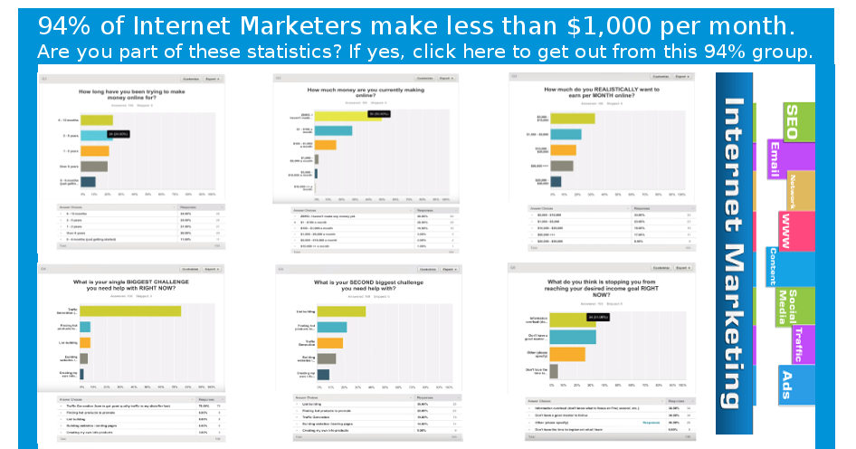 94% Internet Marketers make low income